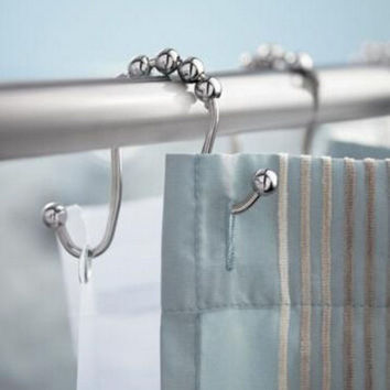 Practical Omega Shaped Shower Curtain Hooks Set of 12 Per Pack