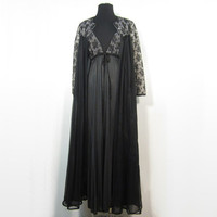 1950s dusty lilac and black night gown and robe set - negligee and peignoir - medium