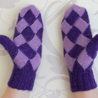 Purple and Lilac Mittens / Warm Mohair Knitted Two Colors Entrelac Geometry Gloves / Warm Cozy Gift
