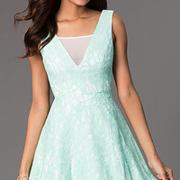 Short Sleeveless A-LIne Lace Dress