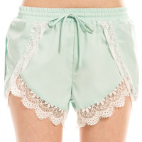Lace Trim Shorts - Mint
