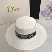 Dior CD New Letter Flat Top Straw Woven Sunscreen Beach Straw Hat Leisure Sun Hat Top Hat