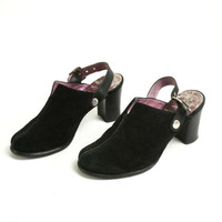 Vintage 90's Black Suede Slingback Clogs, Leather Chunky Heels Mules EUR 37/ US 6.5/ UK 4