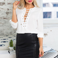 White Lace-Up Front Long Sleeve Chiffon Blouse