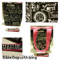 Bible tote bag and key chain with a pop of color