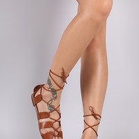 Breckelle Strappy Lace Up Flat Sandal