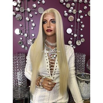 Blonde Silicon Skin Lace Front 13 x4 Multi Parting Medical Wig   Catherine