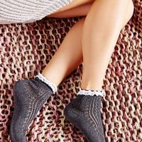 Crochet Pointelle Ankle Sock- Black One
