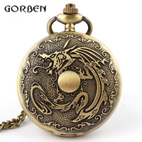 Bronze Fiery Dragon Steampunk Deadpool fullmetal alchemist Pocket Watch Necklace Chain vintage pocket watch Men Relogio De Bolso