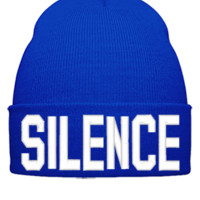 SILENCE EMBROIDERY HAT - Beanie Cuffed Knit Cap