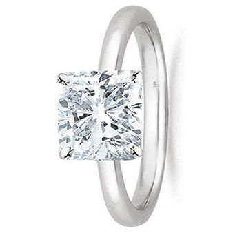 .1/2 - 2 Carat GIA Certified 18K White Gold Solitaire Cushion Cut Diamond Engagement Ring (G-H Color, VS1-VS2 Clarity)
