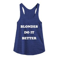 Blondes Do It Better-Female Tri Indigo Tank