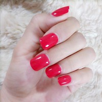 Queen Red False Nail Tips Candy Fake Nail Simple Nail Art Press On Nail Makeup Manicure Tools 24Pcs 489S
