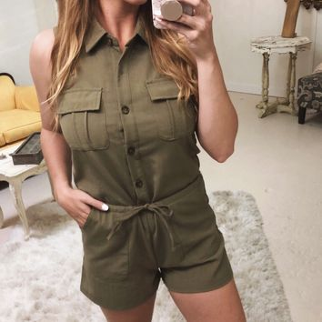 Olive Linen Romper with Collar