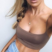 New Fashion Women Sexy Crop Tops Solid Summer Camis Women Casual Tank Tops Vest Sleeveless Crop Tops Blusas