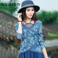 KYQIAO Women blouses blusas y camisas mujer plus size traditional Chinese clothing vintage ETHNIC bellyband print blouse shirt