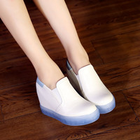Women Wedges Height Increasing Round Toe Loafers Platform Shoes