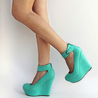 New Womens BC61 Mint Green Ankle Strap Platform Wedge High Heels USA  5.5 to 11