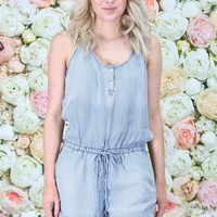 Chambray Stipes Romper {L. Blue} - Size LARGE