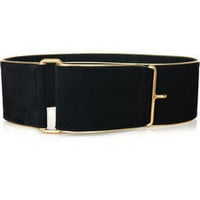 Yves Saint Laurent | Leather-trimmed suede belt | NET-A-PORTER.COM
