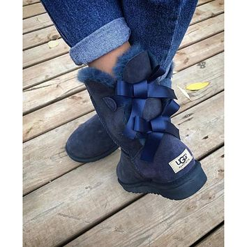 UGG Fashion Winter Women Man Cute Bowknot Flat Warm Snow Ankle Boots Shoes-6