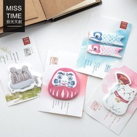 30 Sheets/pack Japanese Stationery Lucky Cat Kawaii Bookmarks Stickers Post it  Memo Pad Sticky Notes Cute Stationery