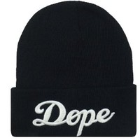 NEW BLACK DOPE 3D EMBROIDERY BEANIE SKULL CAP HIP HOP HAT BLACK