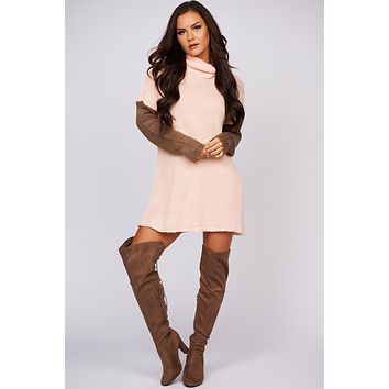 What A Day Color Block Turtle Neck Sweater (Beige)