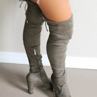 SZ 5.5 Sparks Fly Olive Thigh High Boots