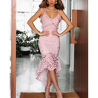 Glamorous Floral Crochet Lace Fishtail Ruffle Trim Dress in Blush