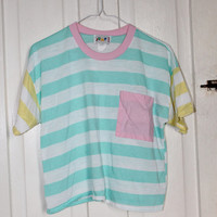 Vintage hipster rad pastel grunge striped breast pocket crop top