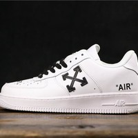 OFF White x Nike Air Force 1 AF1 Low White/ Black Fashion Sneakers