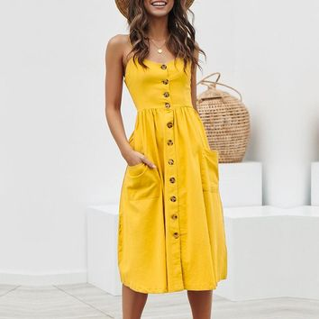 Casual buttons cotton women dresses spaghetti strap midi dress female Holiday beach dress plus size vestidos