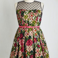 ModCloth Sleeveless Fit & Flare Leave Them Breathless Dress in Blooms - Plus