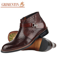 GRIMENTIN fashion classic luxury crocodile ankle boots men dress shoes casual genuine leather