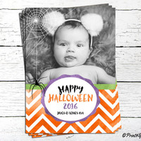 Halloween Photo Card // Personalized Printable Chevron Halloween Photo Greeting Card // Photo Card // Personalized Photo Card