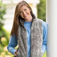 Heathered Zip Sherpa Vest in Moon Mist by The Southern Shirt Co.