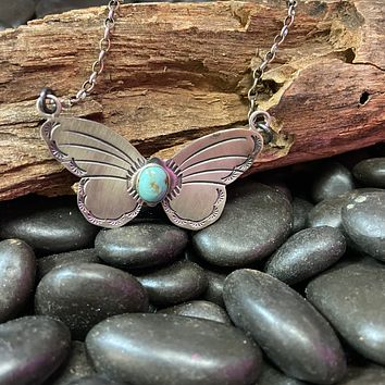 Turquoise Butterfly Genuine Necklace