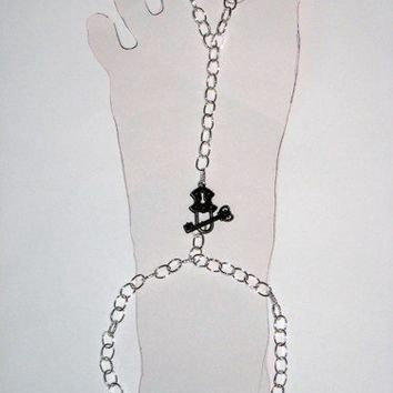Silver Chain Slave Anklet with Attached Toe Ring and Lock Key Clasp