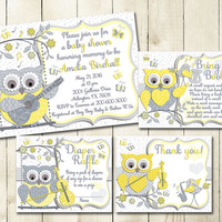 Yellow grey owl music baby shower printable invitation set neutral gender digital invite with inserts guitar violin bring book Diaper Raffle