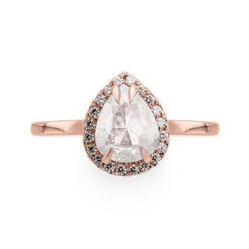 White Pear Halo Ring