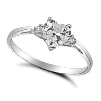 Sterling Silver Simulated Diamond Heart cut Kids and Ladies Ring size 3-12