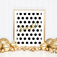 Gold Sparkle Art Print - Christmas Holiday Home Decor