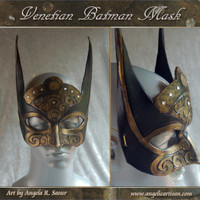 Black and Gold Swirl Batman Dark Knight Venetian Mask Mardi Gras Masquerade with Crystal Accents MADE TO ORDER