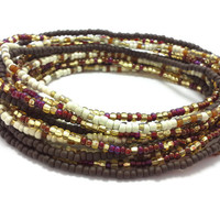 3 Stretch seed bead wrap bracelets, stacking, beaded, boho anklet, bohemian, stretchy stackable multi strand, brown, gold, red, white, ivory