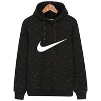 NIKE autumn and winter new classic chest big hook hooded sports long-sleeved sweater black