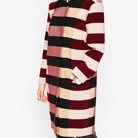 ASOS WHITE Coat in Block Stripe