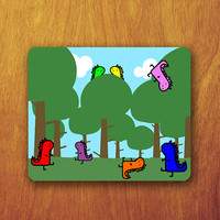 Funny Dinosaur Cartoon Mouse Pad Garden Tree Vector Wallpaper Cute Animal Office Deco Desk Word Pad Personalized Pad Gift Personalized mat