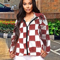 Champion Fashion Women Casual Cardigan Sweatshirt Jacket Coat Windbreaker Sportswear Burgundy
