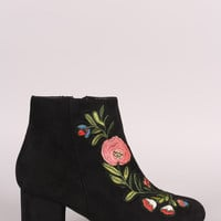 Bamboo Suede Embroidery Floral Applique Chunky Heel Booties